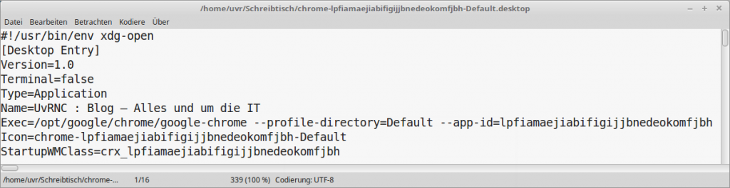 BrowserLink über MenüStruktur von Google-Chrome